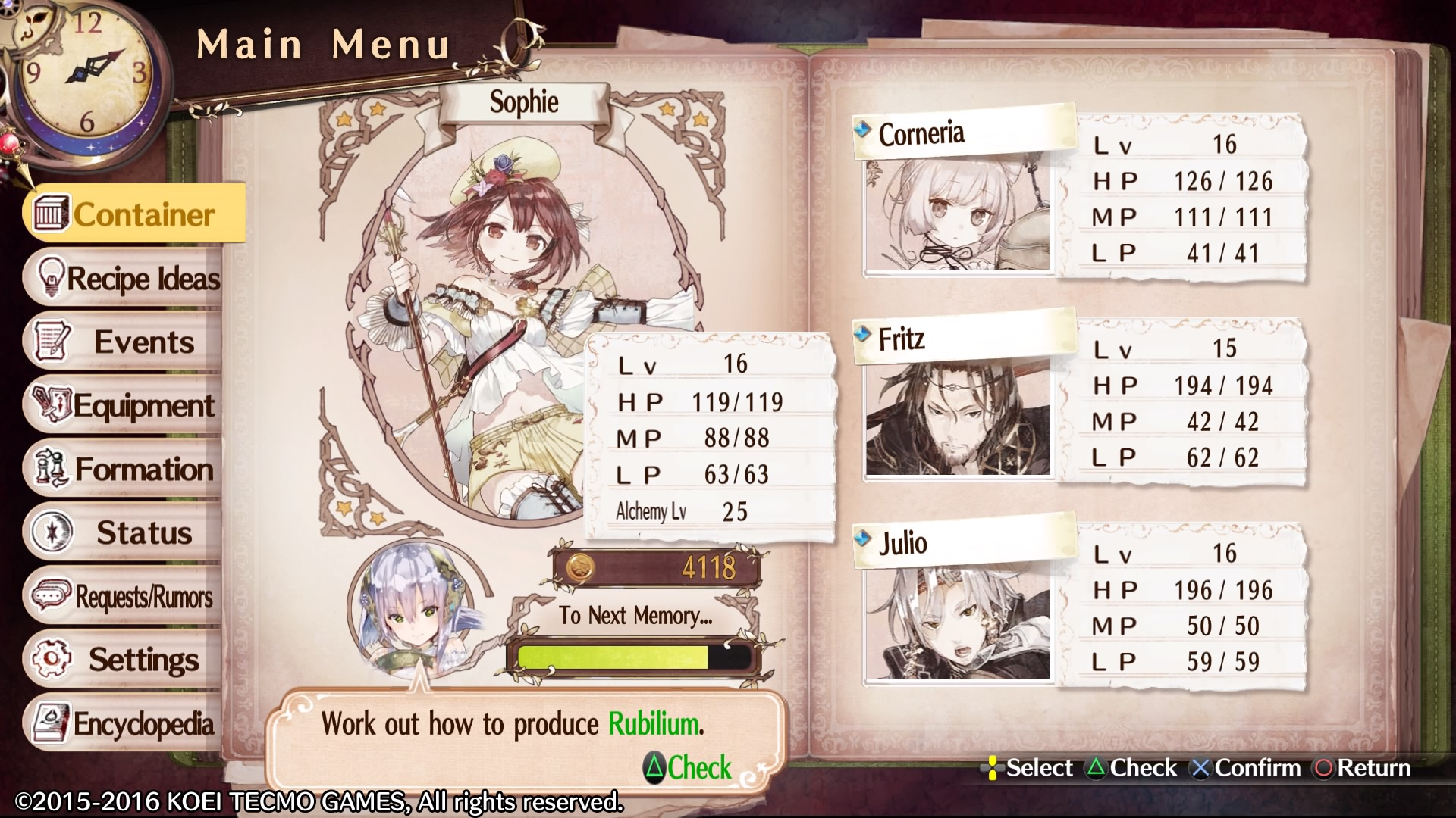Atelier Mysterious Trilogy Deluxe Pack - recenzja i opinia o grze. Menu