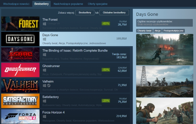 Days Gone Steam 1