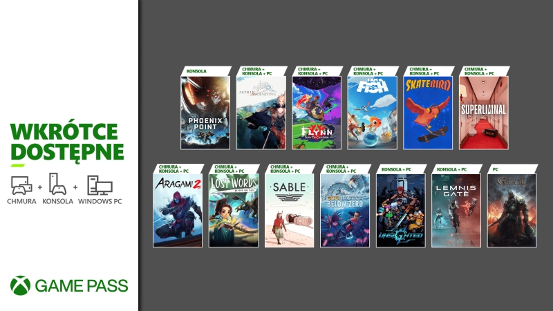 Xbox Game Pass with a very strong new product list.  Microsoft offers 13 titles and 9 premieres on XGP