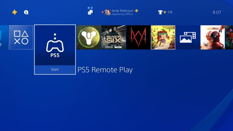 PS5 Remote Play screen