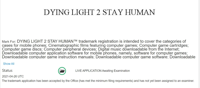 Dying Light 2 Stay Human trademark