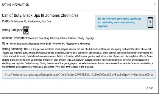 Call of Duty: Black Ops 3 Zombies Chronicles ESRB