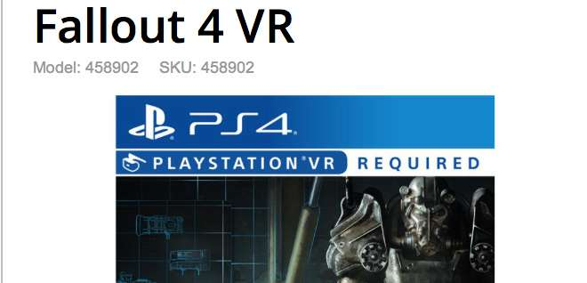 Fallout 4 VR na PlayStation 4 w materiałach GameStop